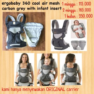 Ergobaby Four Position 360 Cool Air Mesh Carbon Grey with Infant Insert